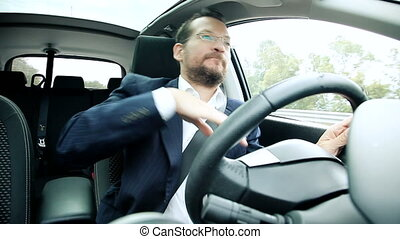 Cool business man driving car sing