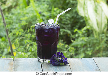 Cool Butterfly pea Juice/Thai herb cold drink