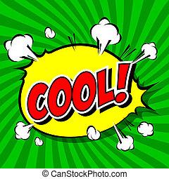 cool!, cômico, borbulho fala, cartoon.