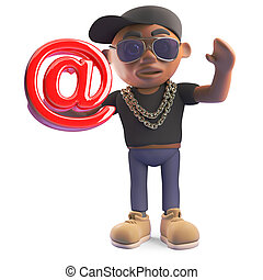 Cool cartoon black hiphop rapper holding email address...