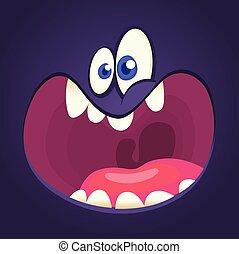 Cool cartoon black monster face yelling. Halloween vector illustration