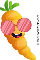 Cool cartoon carrot illustration vector on white background