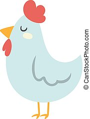 Cool cartoon chicken vector clipart illustration.