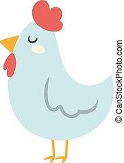 Cool cartoon chicken vector clipart illustration.