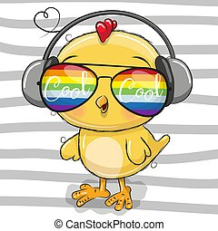 Cute Chicken with sun glasses