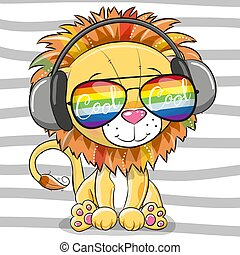 Cute Lion with sun glasses