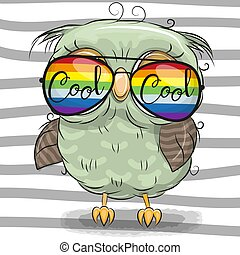 Cute Owl with sun glasses