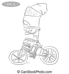Cool cartoon cyclist on bike with glass2