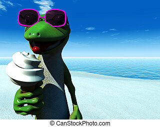 Cool cartoon gecko eating ice cream on the beach. - A cool...