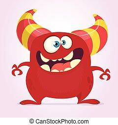 Cool cartoon monster with horns. Vector red monster illustration. Halloween design