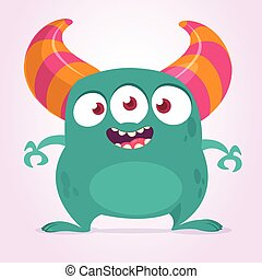 Cool cartoon monster with three eyes. Vector blue monster illustration. Halloween design
