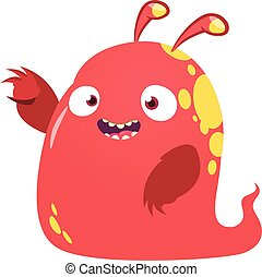 Cool cartoon red monster. Vector illustration.