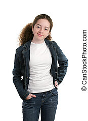 Cool Casual Teen - A cute teen girl relaxed in denim and a...