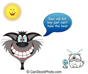 Cool cat and sweaty dog - Comical cool cat with overweight ...