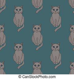 Cool cat seamless pattern