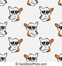 cool cat seamless pattern with sunglasses funny cat  cartoon pet,  kitty mottle kitten doodle,