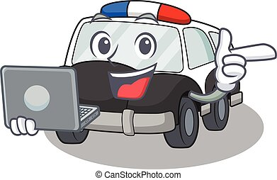 Cool character of police car working with laptop