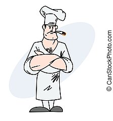 Cool chef with a cigarette hand drawn cartoon image....