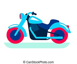 cool classic motorcycle. color flat illustration on white
