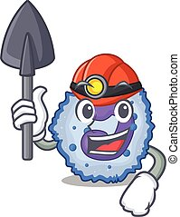 Cool clever Miner basophil cell cartoon character design. ...