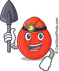 Cool clever Miner erythrocyte cell cartoon character design...