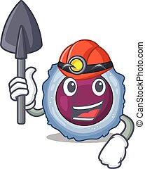 Cool clever Miner lymphocyte cell cartoon character design. ...