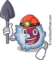 Cool clever Miner monocyte cell cartoon character design. ...