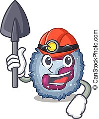 Cool clever Miner neutrophil cell cartoon character design. ...