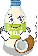 Cool coconut milk mascot character with Smirking face