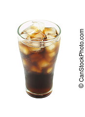 Cool cola with ice in glass on white background.