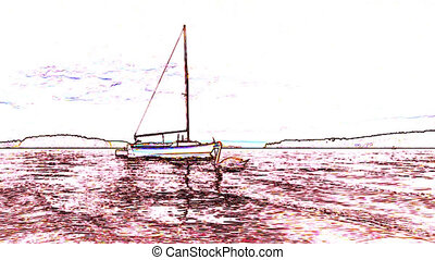 Cool cold gradient line drawing of a cartoon ship or yacht...