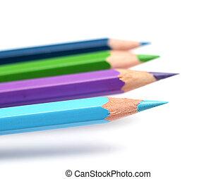 Cool colour pencils closeup