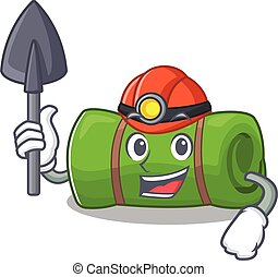 Cool confident Miner camping mat Scroll cartoon character...