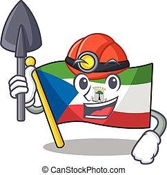Cool confident Miner flag equatorial guinea Scroll cartoon ...