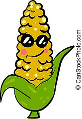 Cool corn, illustration, vector on white background.