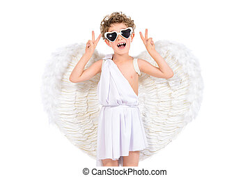 cool costume - Cute emotional little boy in a costume of...