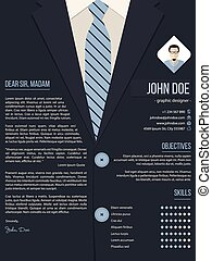 Cool cover letter resume template with business suit background