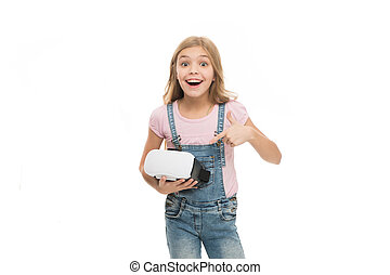 Cool. Cyber gaming. future technology. Virtual reality is exciting. Girl little kid wear vr glasses isolated on white background. Virtual education concept. Modern life. Interaction in virtual space