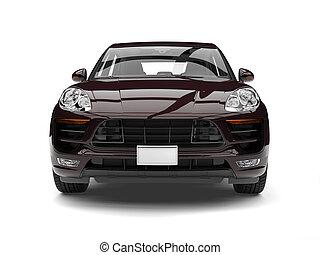 Cool dark brown modern SUV - front view