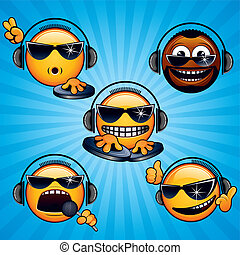 Cool Deejay 1 - Cartoon DJ Icons and Smileys. Variety vector...