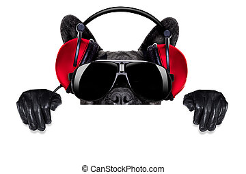 cool dj dog listening to music behind a white and blank banner or placard