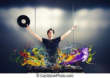 Cool DJ playing music with splash effect