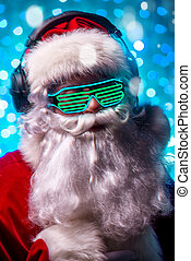 cool DJ Santa - DJ Santa Claus in luminous glasses and...