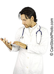 Cool doctor working with tablet