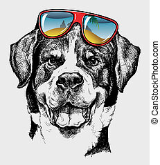 Cool Dog Artistic Drawing - Artistic drawing with...