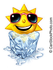 Cool down refreshment relief concept with a hot vacation summer sun character in a frozen cold block of ice melting as a chilled conforting relaxation from the blistering heat on white.