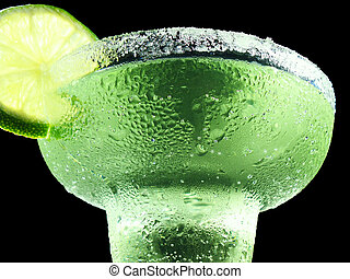 cool down - margarita with lime and salt isolated on black