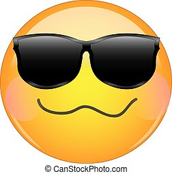 Cool drunken blushing emoji. Yellow face emoticon wearing sunglasses with a crumpled mouth, and blush on cheeks expressing drunken state of mind.