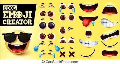 Cool emoji smiley creator vector set. Smiley emojis maker in cool happy face