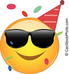 Cool emoji wearing a party hut, sunglasses and confetti flying around. Party emoticon with round yellow face and smiling. Expression of fun, good time, joy, partying and celebrating.